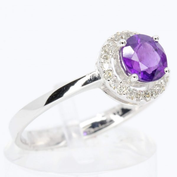 Amethyst Ring with Diamond Halo Set in 18ct White Gold