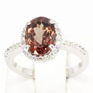 Garnet Ring with Halo of Diamonds