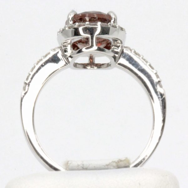 Garnet Ring with Halo of Diamonds