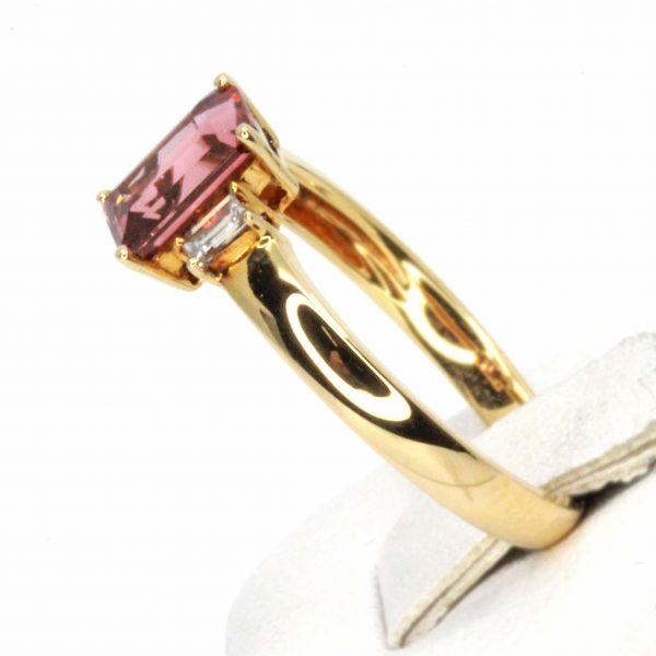 Emerald Cut Pink Tourmaline & Diamond Trilogy Ring Set in 18ct Yellow Gold