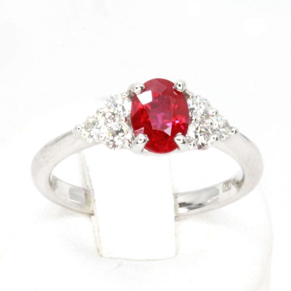 1.06ct Burmese Ruby Ring with Diamond Shoulder Accents