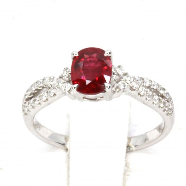 1.15ct Burmese Ruby Ring with Diamond Accents Set in 18ct White Gold