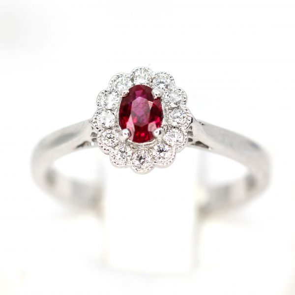Oval Cut Ruby Ring with Diamond Scallop Halo Set in 18ct White Gold