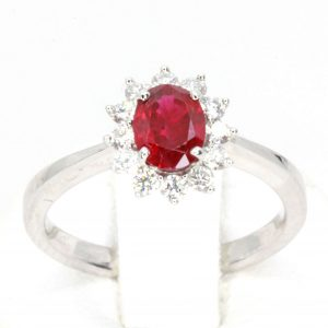 1.13ct Ruby Ring with Floral Diamond Halo Set in 18ct White Gold