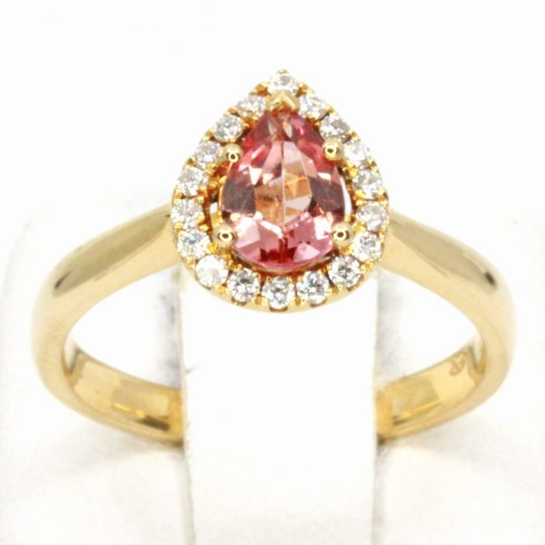 Pear Cut Imperial Topaz Ring with Halo of Diamonds Set in 18ct Yellow Gold
