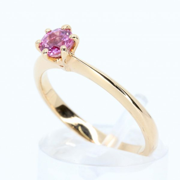 Round Cut Pink Sapphire Solitaire Ring Set in 18ct Rose Gold