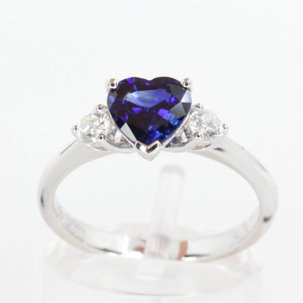 Heart Shape Ceylon Sapphire Triliogy Diamond Ring Set in 18ct White Gold