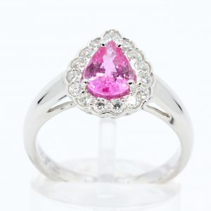 Pear Cut Pink Sapphire Ring with Scallop of Diamonds Set in 18ct White Gold