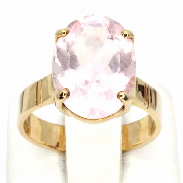 Oval Rose Quartz Solitaire Ring Set in 9ct Yellow Gold