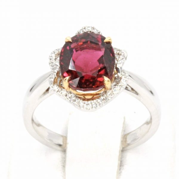 Oval Tourmaline Ring with Fancy Diamond Halo Set in 18ct White Gold & Rose Gold