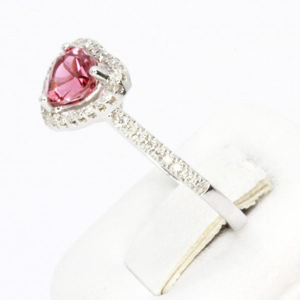 Heart Shape Pink Tourmaline Ring with Accent of Diamonds Set in 18ct White Gold