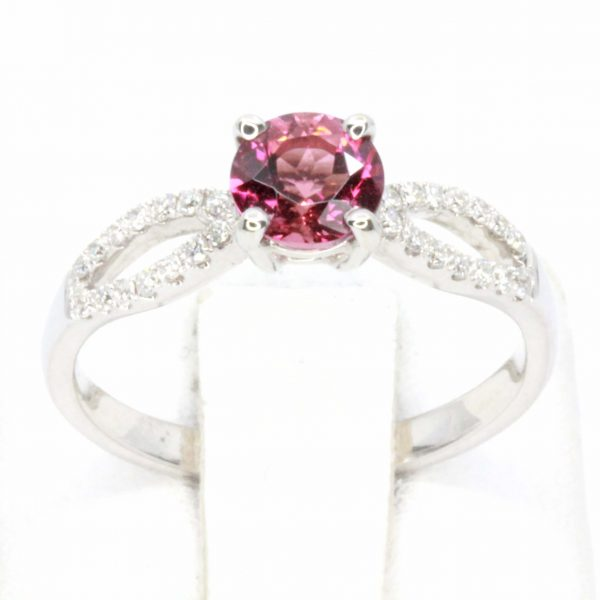 Round Cut Solitaire Pink Tourmaline Ring with Accents of Diamonds Set in 18ct White Gold