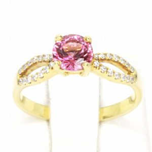 Round Cut Solitaire Pink Tourmaline Ring with Accents of Diamonds Set in 18ct Yellow Gold