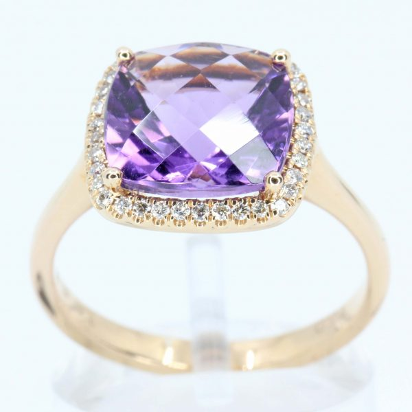 Cushion Shape Amethyst Ring with Halo of Diamonds Set in 18ct Rose Gold