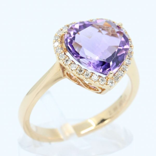 Heart Shape Amethyst Ring with Halo of Diamonds Set in 18ct Rose Gold