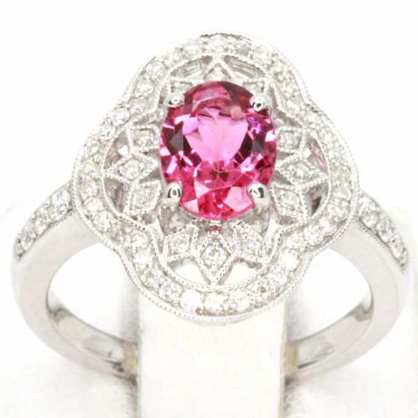 Oval Shape Pink Tourmaline Ring with Accents of Diamonds Set in 18ct White Gold