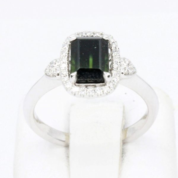 Emerald Cut Green Tourmaline Ring with Diamond Accents Set in 18ct White Gold