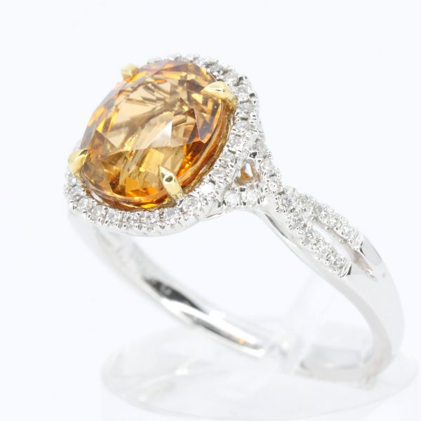 2.85ct Cusion Cut Orange Tourmaline Ring with Diamond Accents Set in 18ct White Gold
