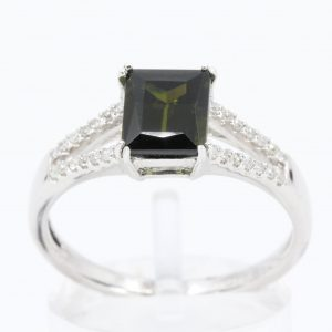 Emerald Cut Green Tourmaline Ring with Accents of Diamonds Set in 14ct White Gold