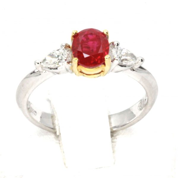 Oval Ruby Ring with Pear Shape Diamonds Set in Platinum & 18ct Yellow Gold
