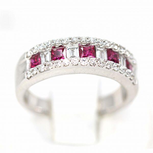Ruby & Diamond Fancy Wedder Claw & Bead Set in 18ct White Gold