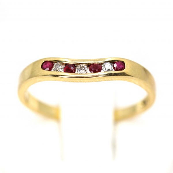 Ruby & Diamond Fitted Wedding Band Set in 18ct Yellow Gold