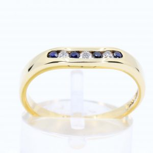 Sapphire & Diamond Fitted Wedding Band Set In 18ct Yellow Gold