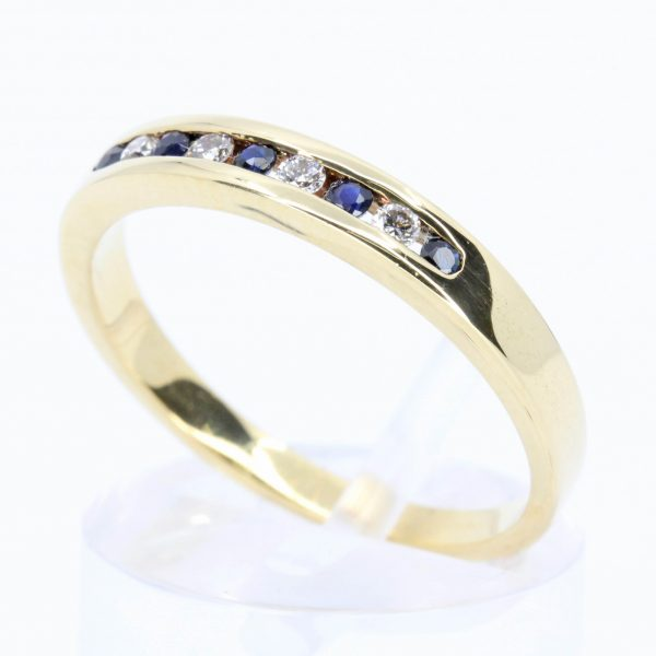 Sapphire & Diamond Wedding Band Set In 18ct Yellow Gold