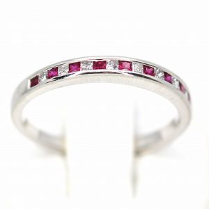 Ruby & Diamond Channel Set Wedder in Platinum