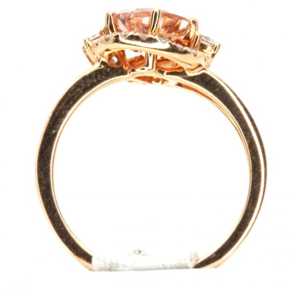 Oval Shape Morganite Ring with Halo of Diamonds Set in 18ct Rose Gold