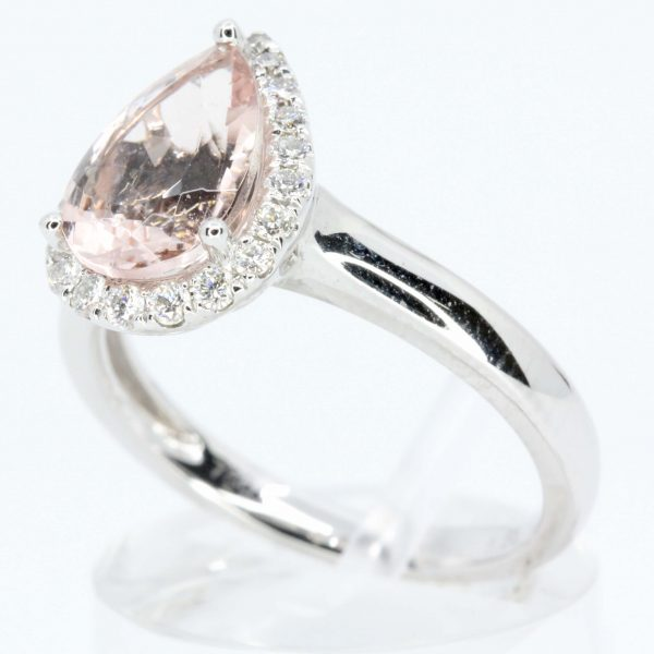 Pear Cut Morganite Ring with Halo of Diamonds Set in 18ct White Gold