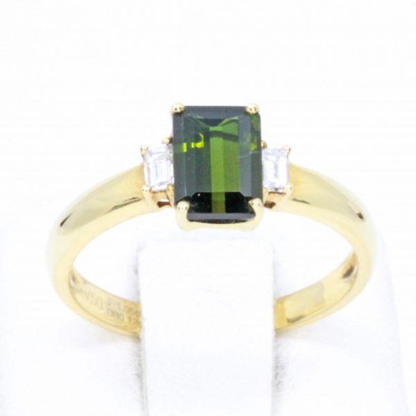 Emerald Cut Green Tourmaline Triliogy Diamond Ring Set in 18ct Yellow Gold