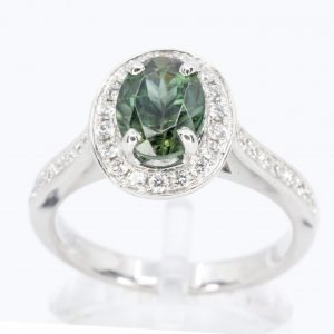 Oval Shape Green Tourmaline Ring with Accents of Diamonds Set in 18ct White Gold