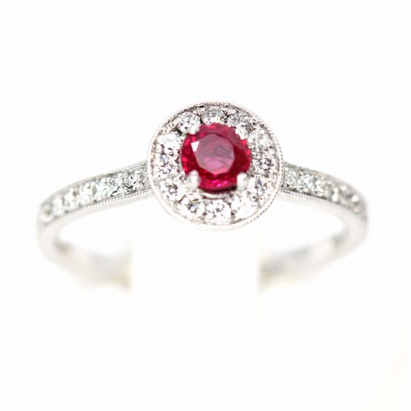 Round Cut Ruby Ring with Diamonds set in 18ct White Gold
