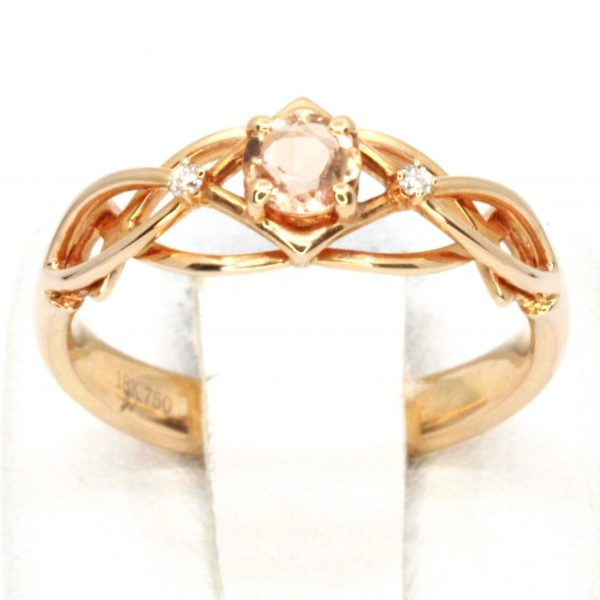 Round Cut Imperial Topaz Ring with Accents of Diamonds Set in 18ct Rose Gold