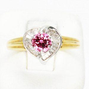 Round Cut Pink Tourmaline & Diamond Ring Set in 18ct Yellow & White Gold