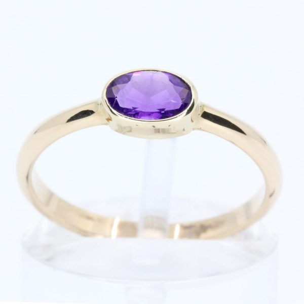 Oval Amethyst Ring set in 9ct Yellow Gold