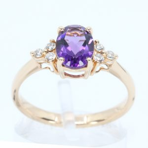 Amethyst Ring with Diamond