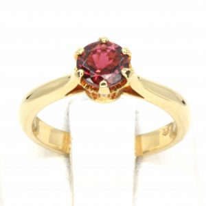 Round Cut Pink Tourmaline Ring with Accents of Diamonds Set in 18ct Yellow Gold