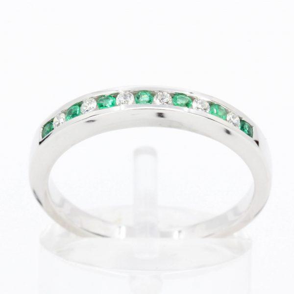 Emerald & Diamond Straight Band Set in 18ct White Gold