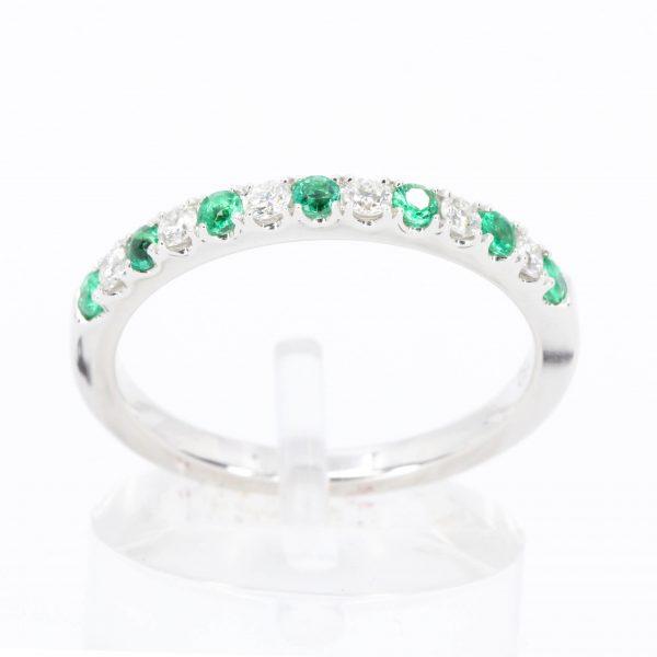 Emerald & Diamond Bead Set Band Set in 18ct White Gold
