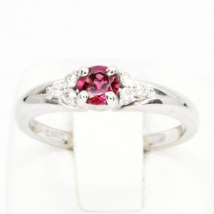 Round Cut Rhodalite Garnet Ring with Accents of Diamonds Set in 18ct White Gold