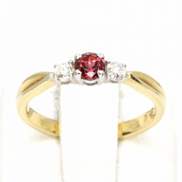 Rhodalite Garnet & Diamond Triliogy Ring Set in 18ct Yellow & White Gold