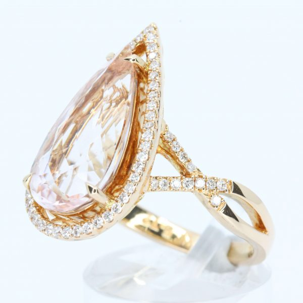Pear Cut Morganite Ring with Accents of Diamonds Set in 18ct Rose Gold