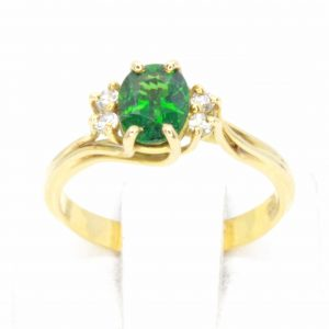 Chrome Tourmaline Ring with Accents of Diamonds Set in 18ct Yellow Gold