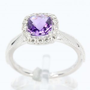 Cushion Cut Amethyst Ring with Diamond Accents Set in 18ct White Gold