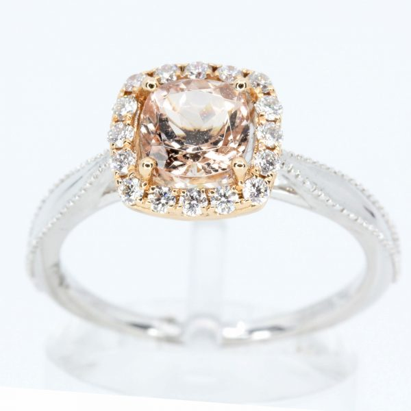 Cushion Shape Morganite Ring with Halo of Diamonds Set in 18ct White Gold