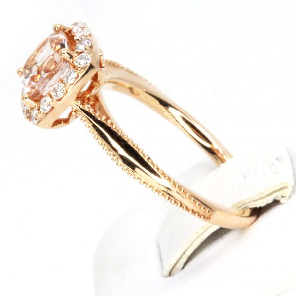 Cushion Shape Morganite Ring with Halo of Diamonds Set in 18ct Rose Gold