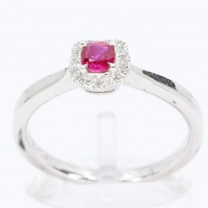 Cushion Shape Ruby Ring with Halo of Diamonds Set in 18ct White Gold