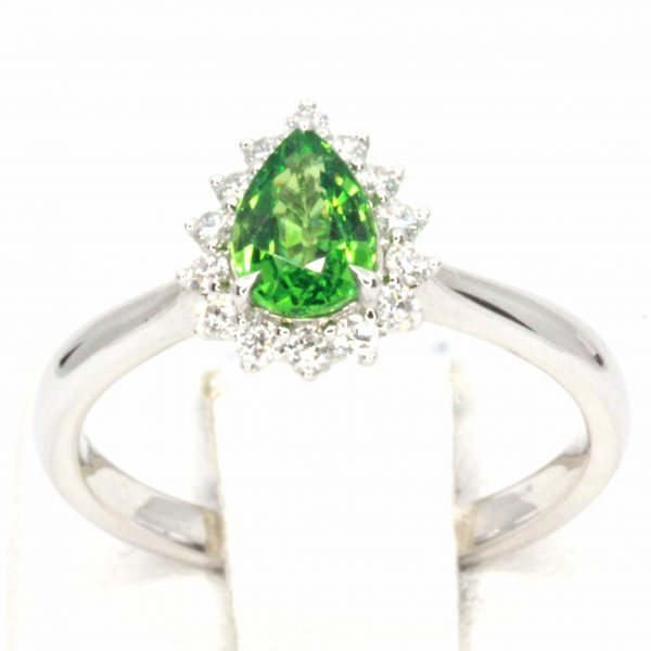 Pear Cut Tsavorite Ring with Halo of Diamonds Set in 18ct White Gold